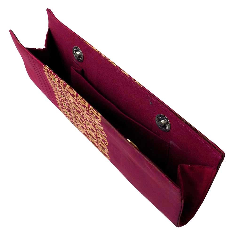 Pink Baluchari Pure Silk Clutch Bag