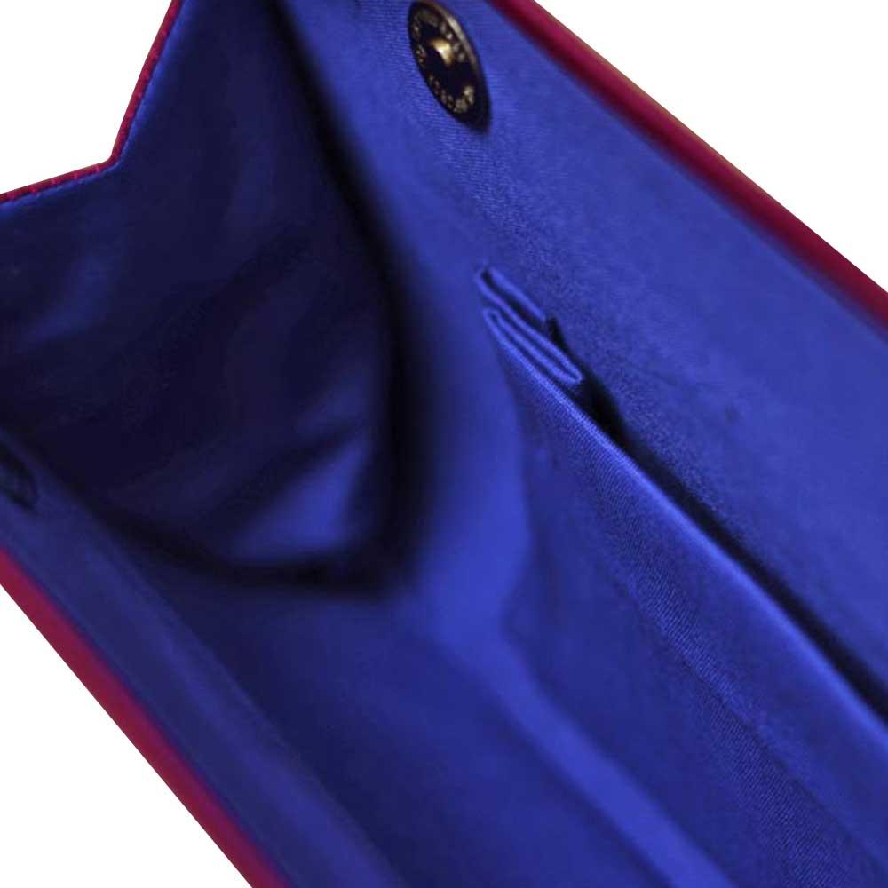 Navy Blue Pink Border Mythological Weave Pure Silk Baluchari Clutch Bag