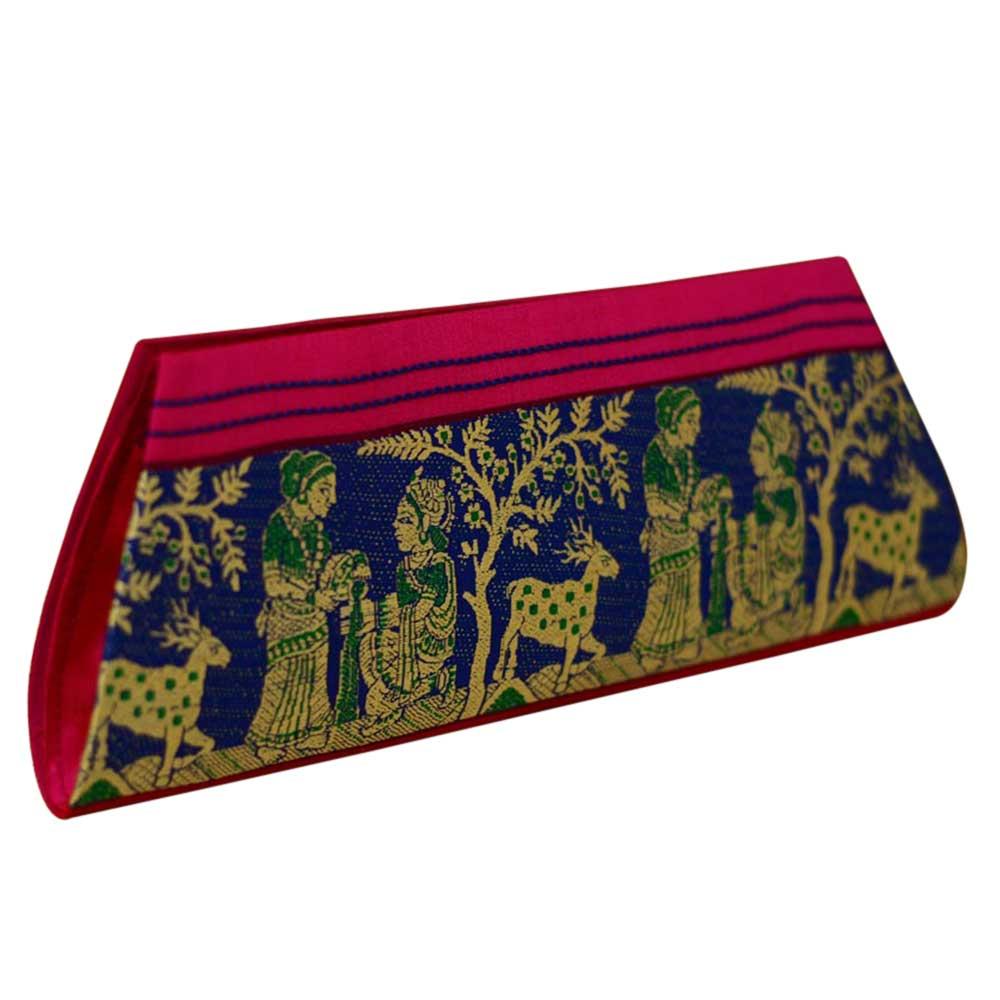 Navy Blue Conical Mythological Weave Pure Silk Baluchari Clutch Bag