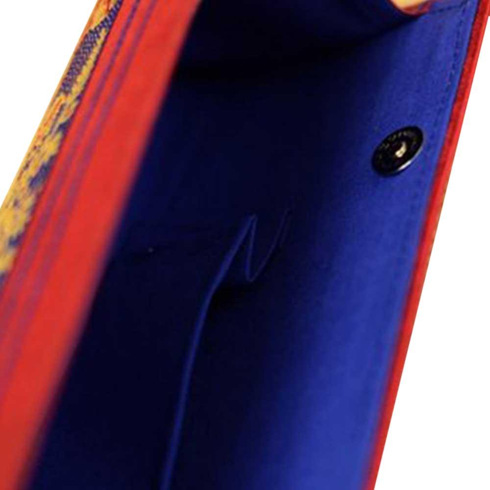 Navy Blue Red Border Conical Mythological Weave Pure Silk Baluchari Clutch Bag