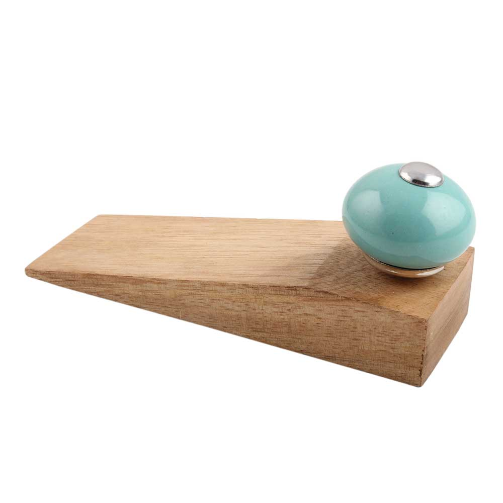 Sea Green Round Ceramic Wooden Door Stopper