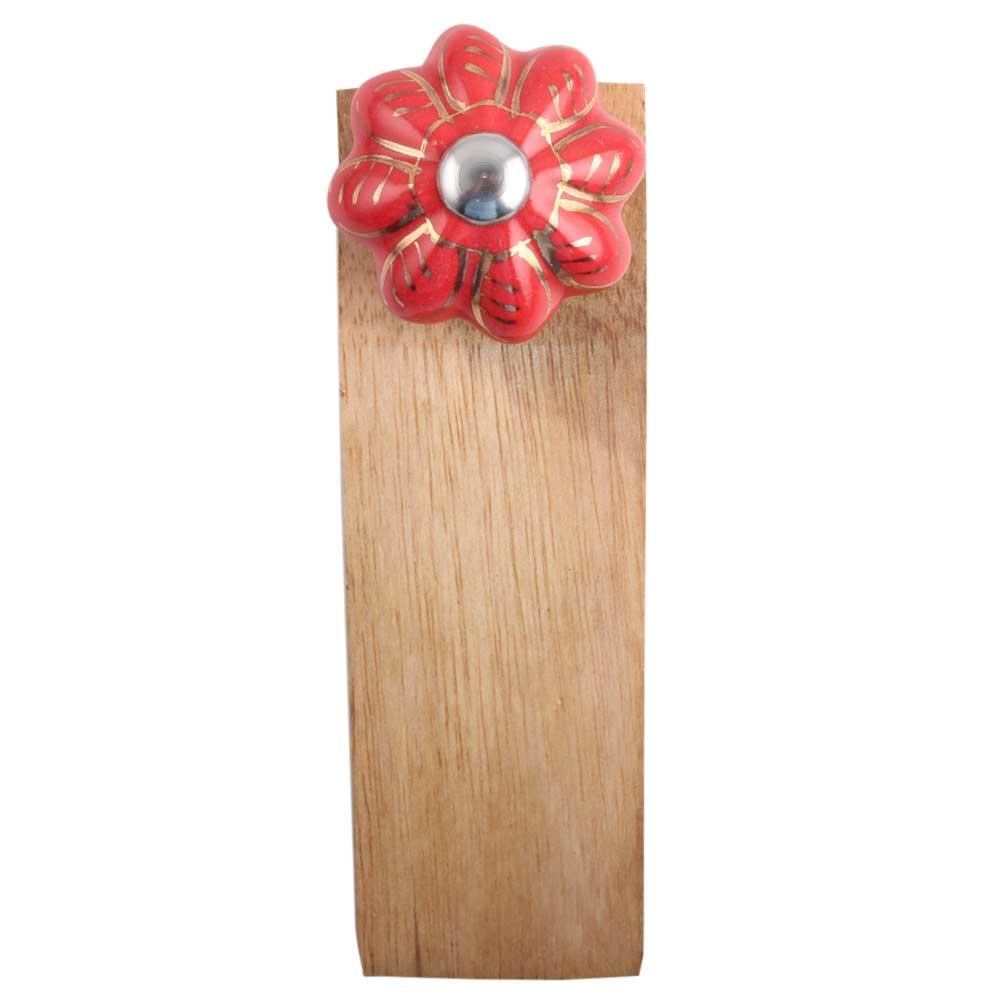 Red Golden Leaf Big Ceramic Wooden Door Stopper