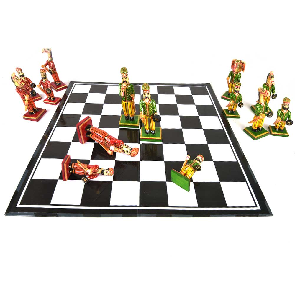 Vintage Camel Bone Chess Set With Players