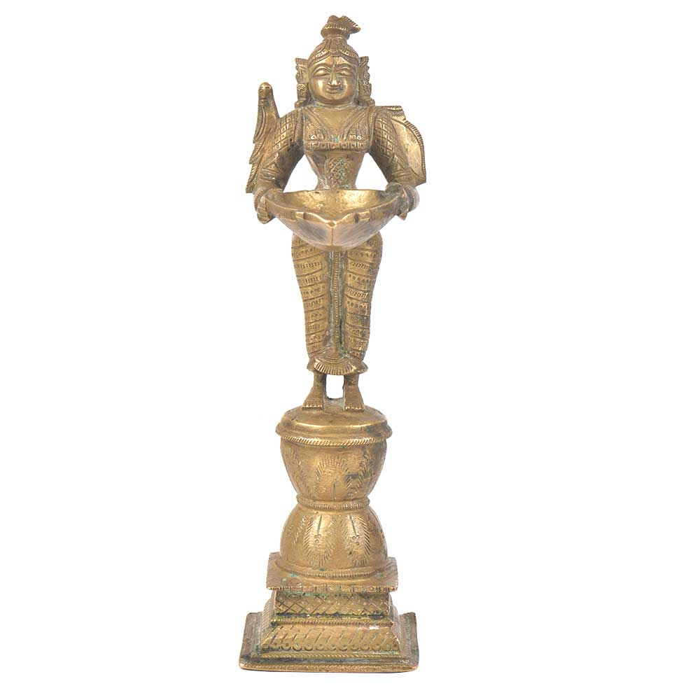 Lady Holding Diya In Her Hands Bronze Figurine