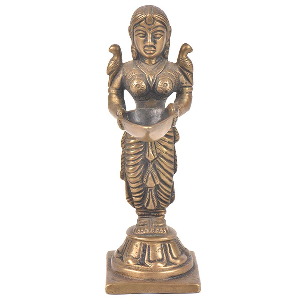 Lady Holding Diya In Her Hands And 2 Birds On Each Shoulder Bronze Figurine