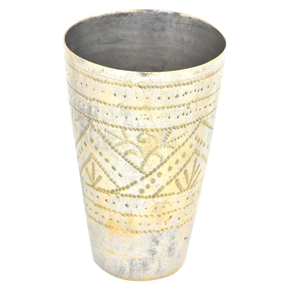 Brass Punjabi Lassi Glass Etched Geometrical and Etched Design