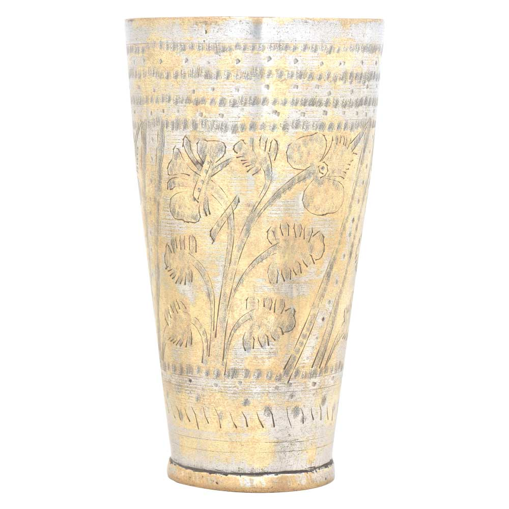 Floral Carved Punjabi Brass Lassi Glass