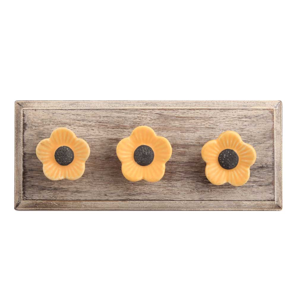 Mustard Daffodils Ceramic Wooden Hook