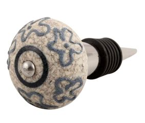 Slate Blue Crackle Ceramic Wine Stopper