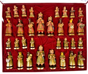 Vintage Musical Camel Bone Chess Set Gold Plated