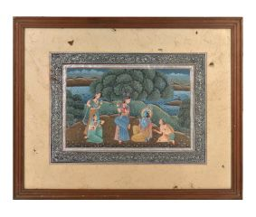 Vintage Indian Miniature Painting of Krishna and Radha with Gopis In Frame