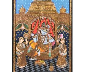 Tanjore Painting of Krishna With  Bama and Rukmani With Frame