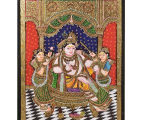 Darbar Krishna Tanjore Painting With Frame
