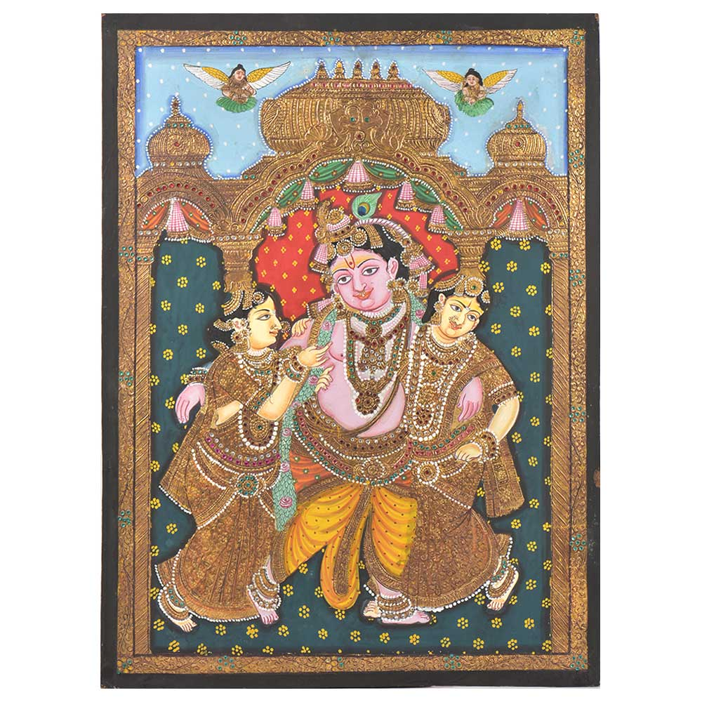 Krishna With Bama and Rukmini Tanjore Painting in Frame