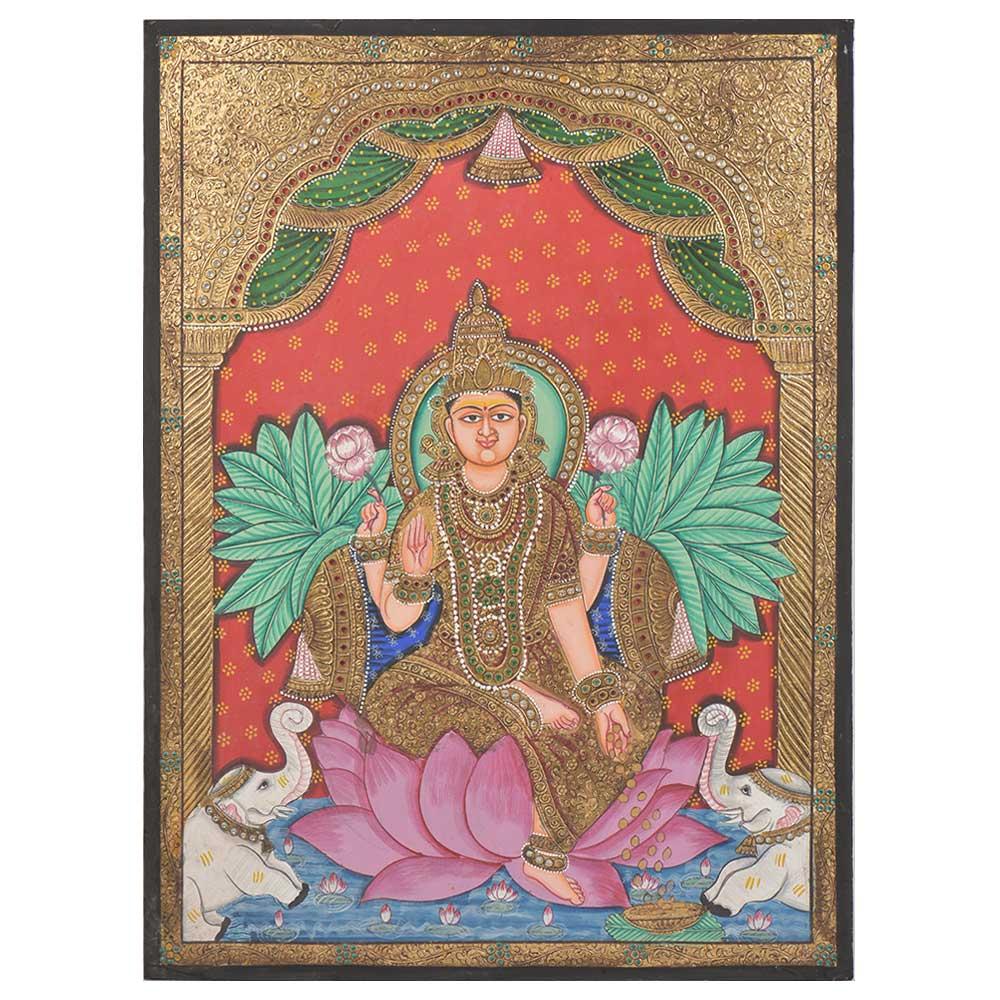 Lotus Lakshmi Tanjore Paintings With Frame