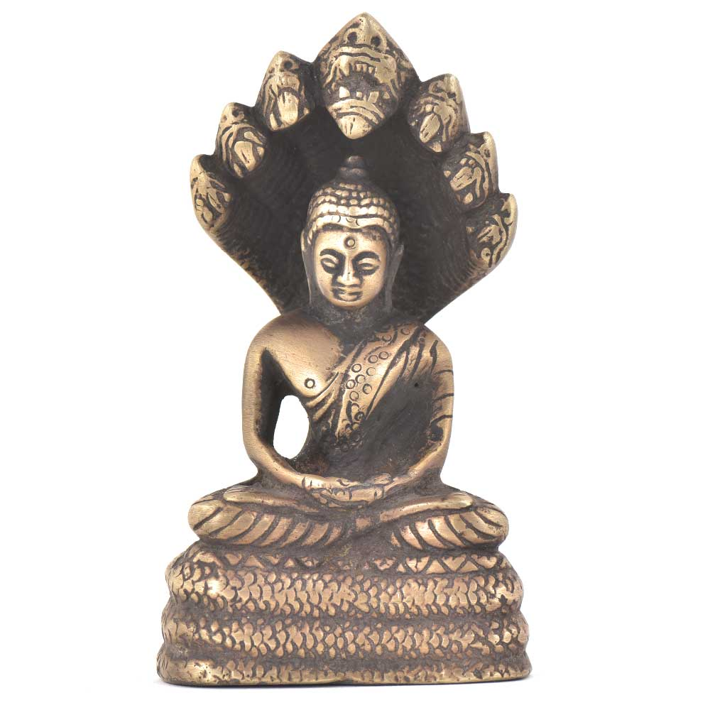 Bronze Buddha Sitting Under Snake Hood