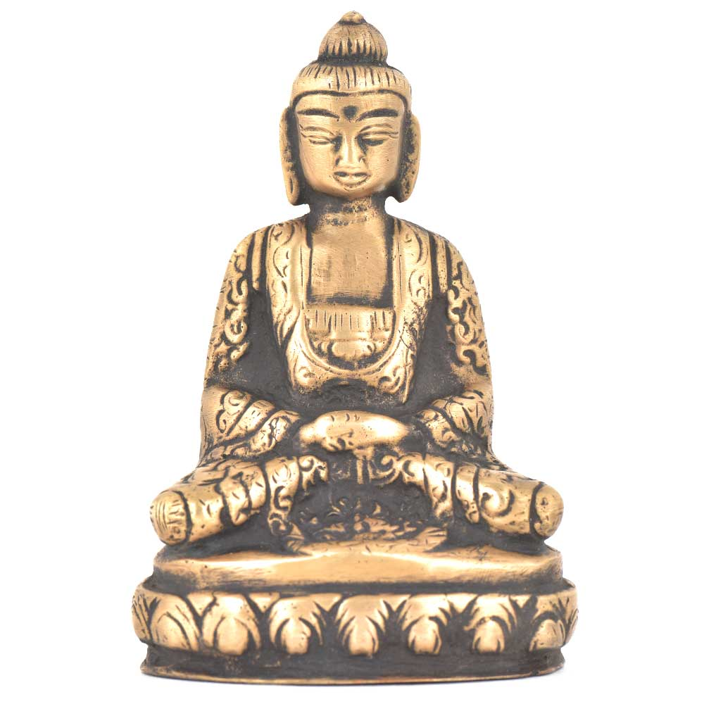 Bronze Buddha Sitting On A Raised Platform
