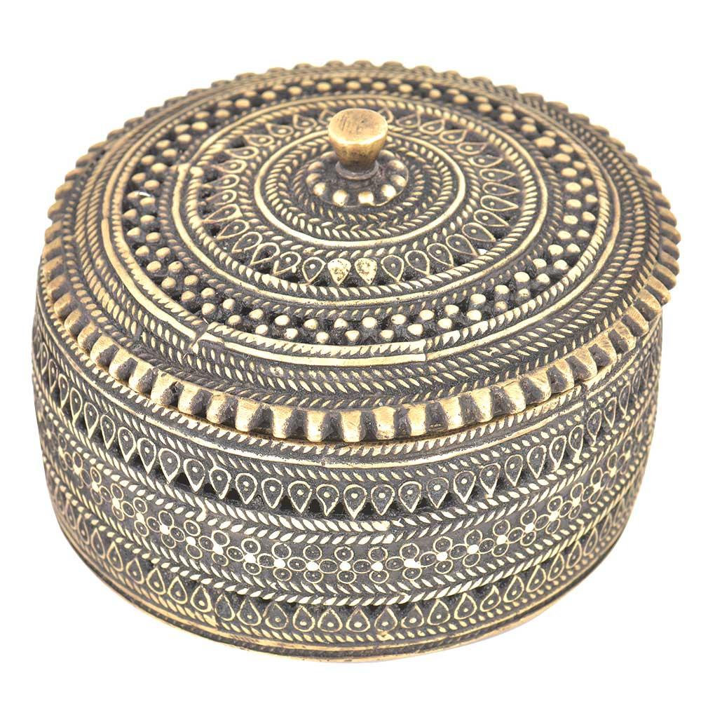 Bronze Circular Storage Box With Engraving
