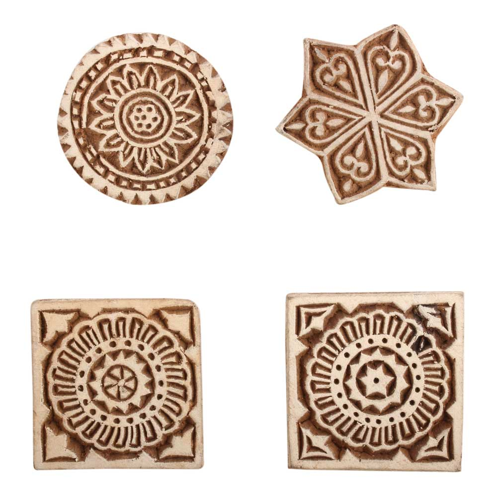 Set of 4 Piece New Mix Wooden Printing Block
