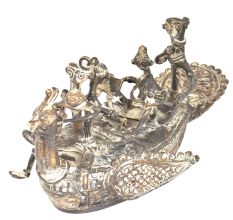 Brass Mayurpankhi Boat With Silver Plating Men & Women Sitting