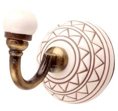 Brown Pattern Etched Ceramic Wall Hook