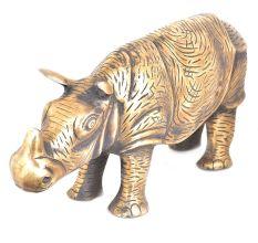Brass Wild Rhino Standing Statue