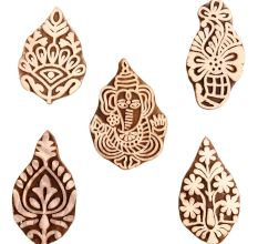 Set of 5 Piece New Mix Wooden Printing Block