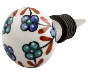 Sea Green Slate Blue Tiny Flower Ceramic Wine Stopper
