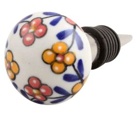 Mustard And Red Tiny Flower Ceramic Wine Stopper