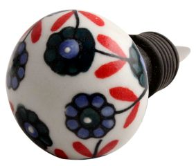 Sea Green Tiny Flower Ceramic Wine Stopper