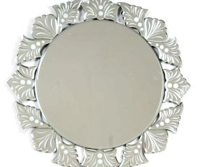 Venetian Round Cut & Etched Glass Frame Mirror