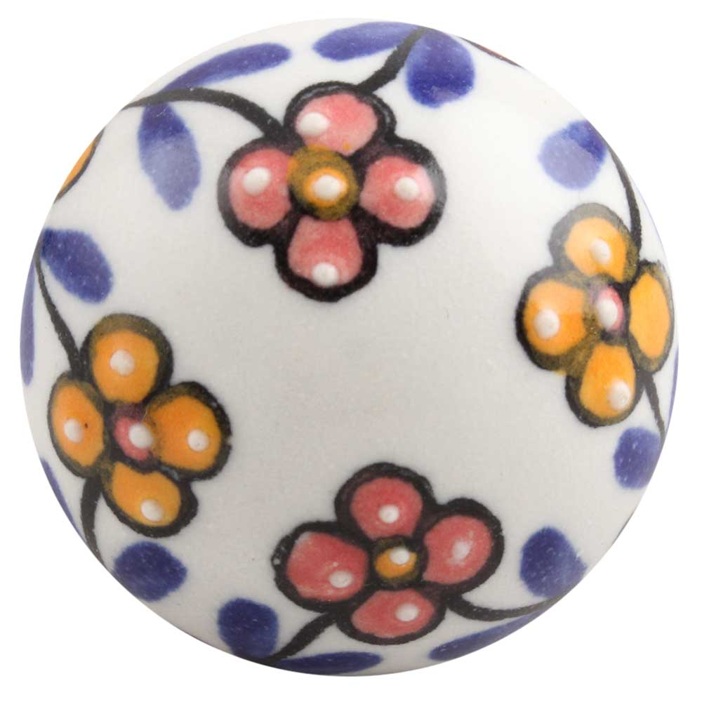 Mustard And Red Tiny Flower Ceramic Drawer Knob Online