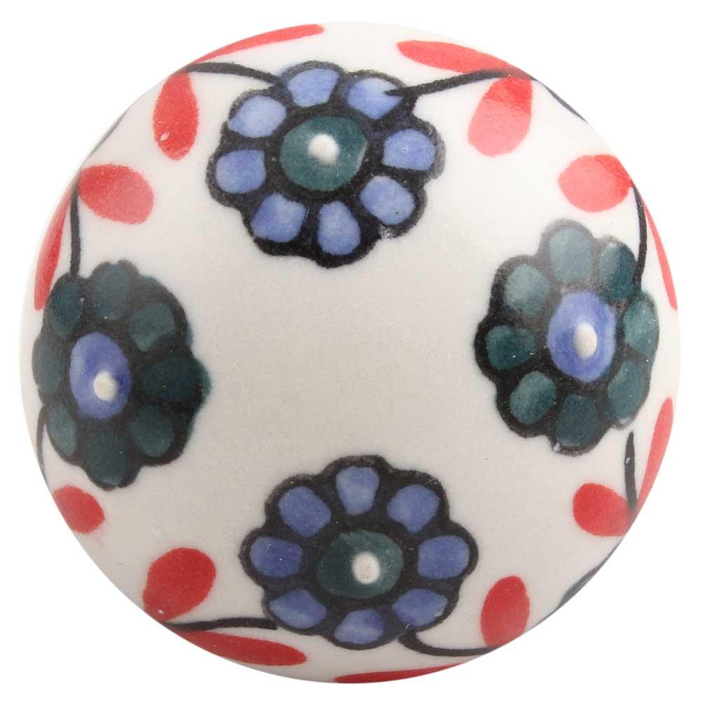 Sea Green Tiny Flower Ceramic Drawer Knob Online