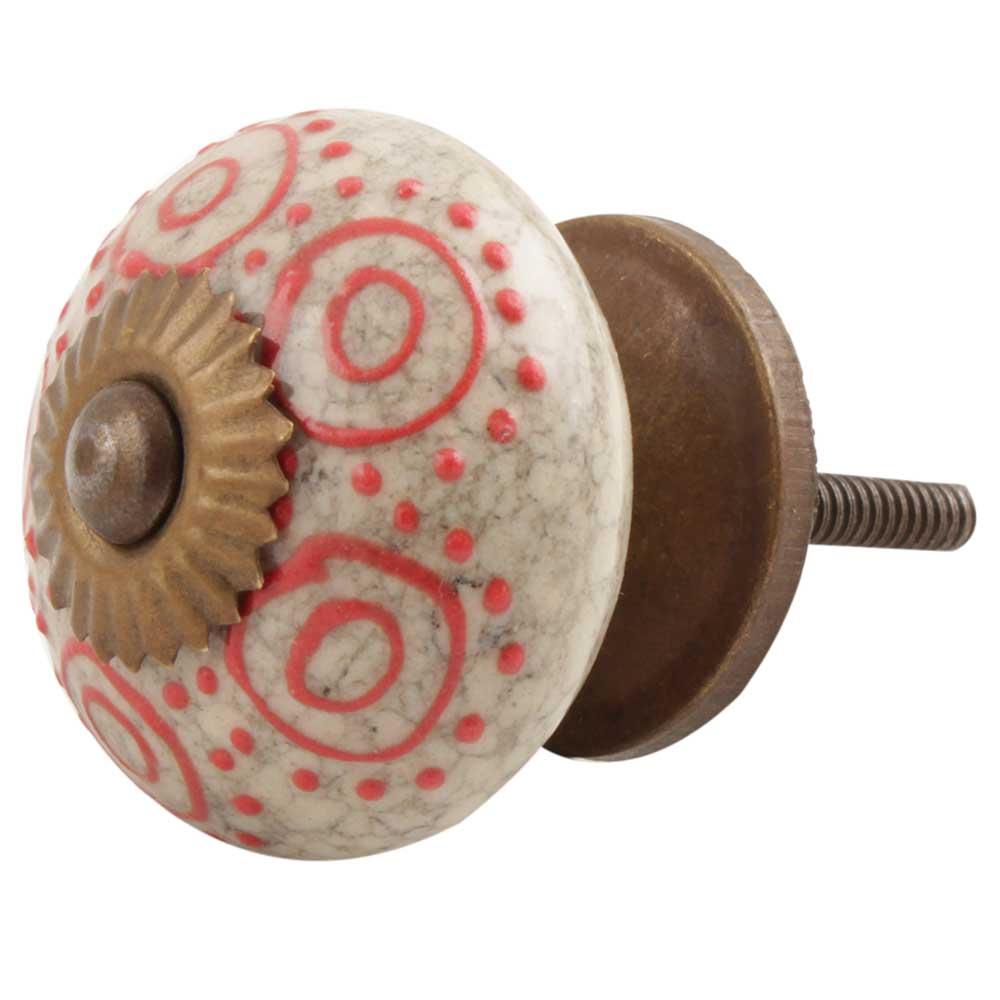 Red Round Crackle Ceramic Cabinet Knob