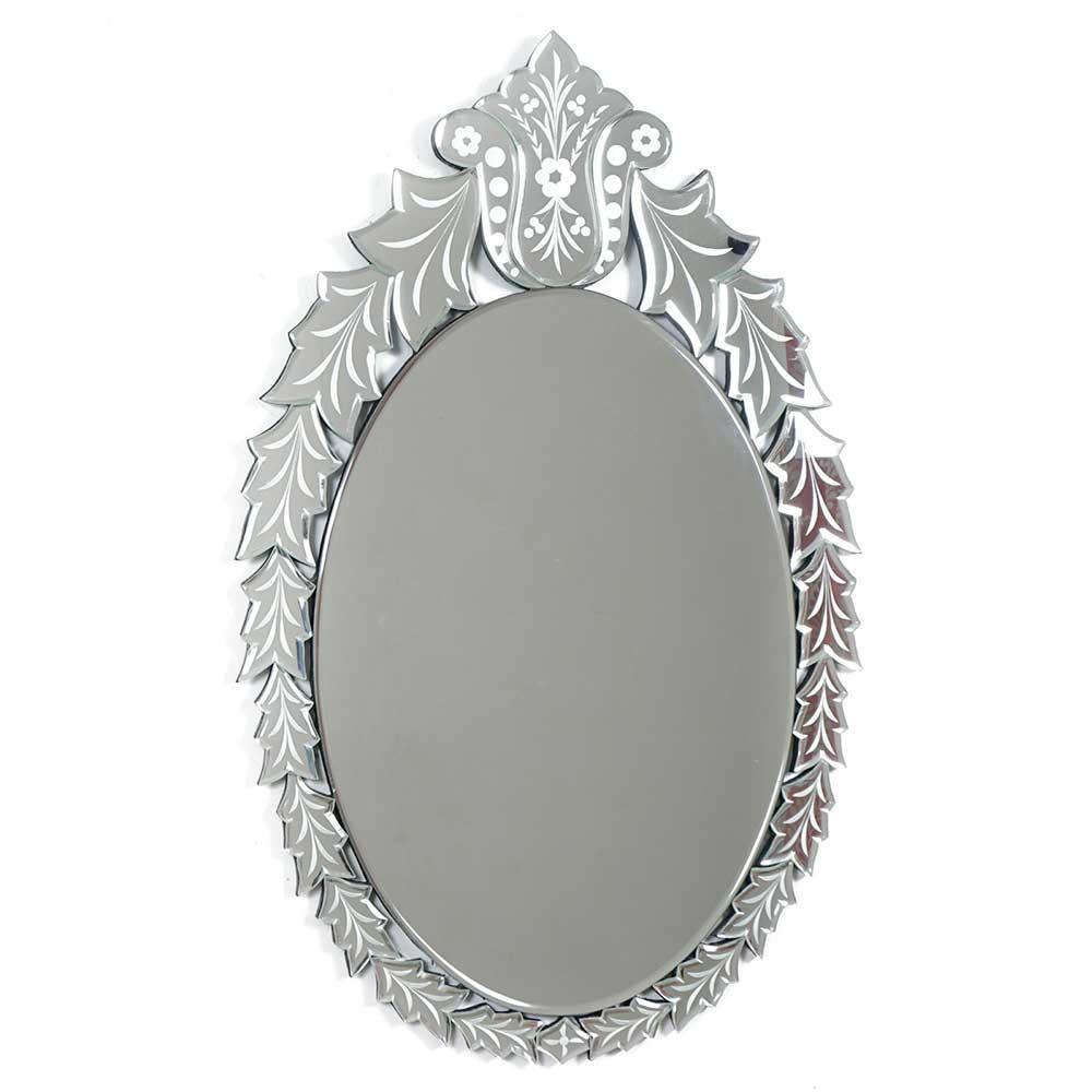 Oval Leafy Design Decorative Mirror