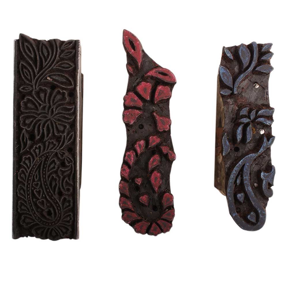 Set of 3 Piece New Wooden Printing Block