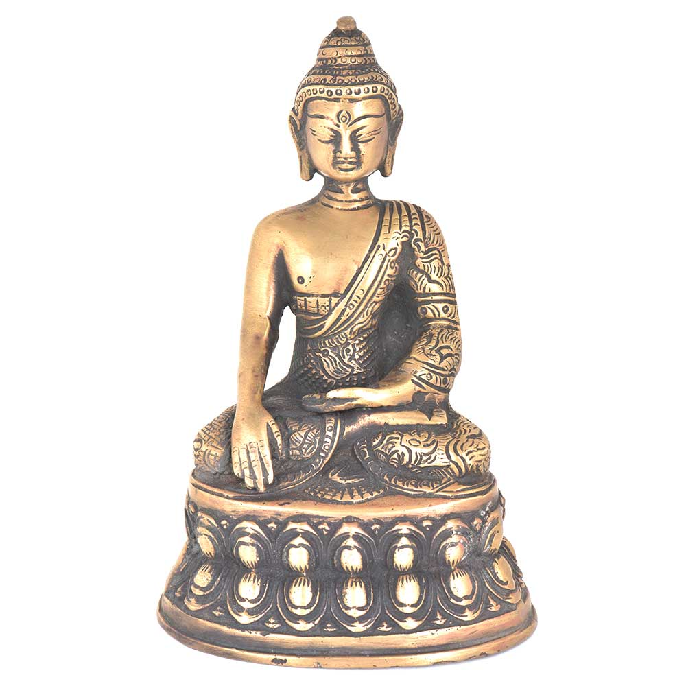 Brass Earth Touching Indian Buddha Statue