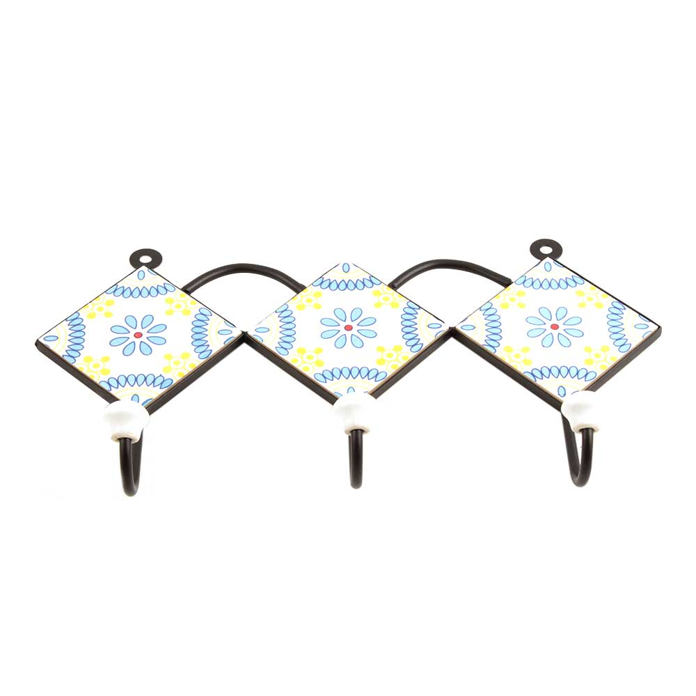 White Turquoise Yellow Floral Tiles Hook
