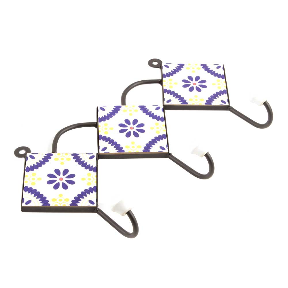 White Navy Blue Yellow Floral Tiles Hook