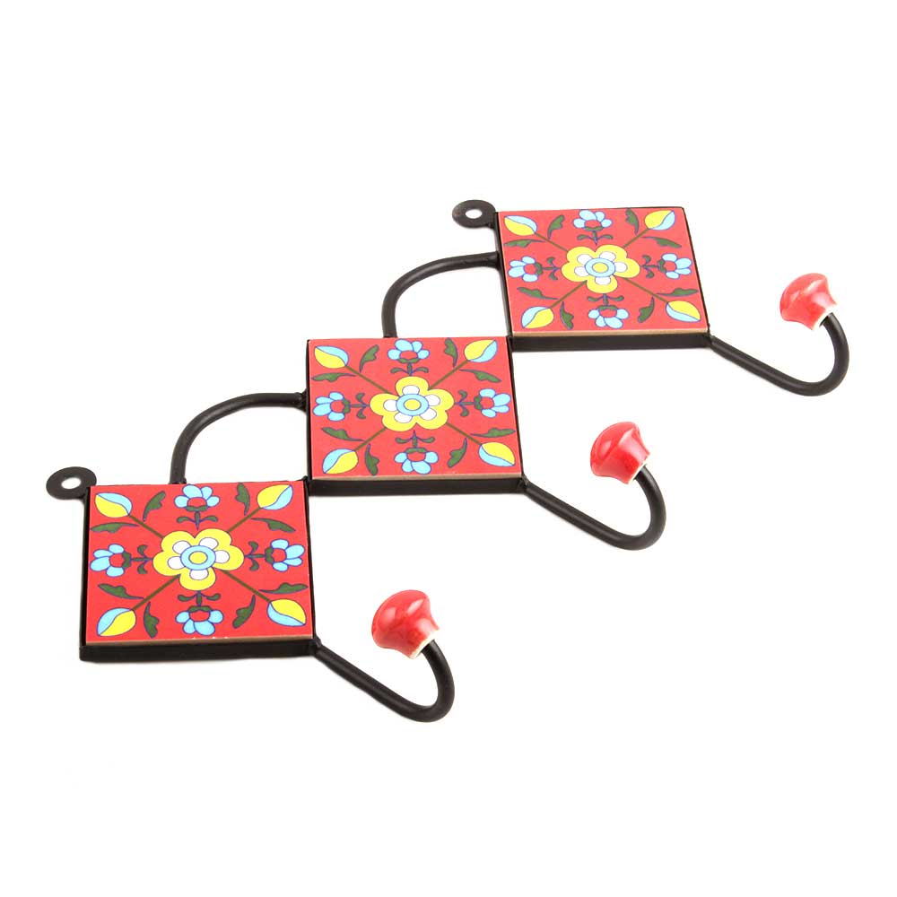 Red Yellow Floral Tiles Hook
