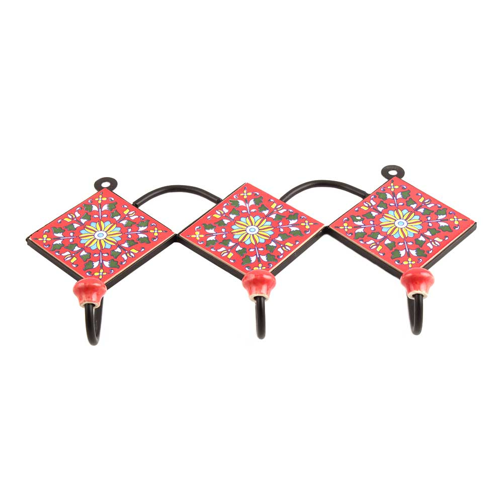 Red Yellow Flower Tiles Hook