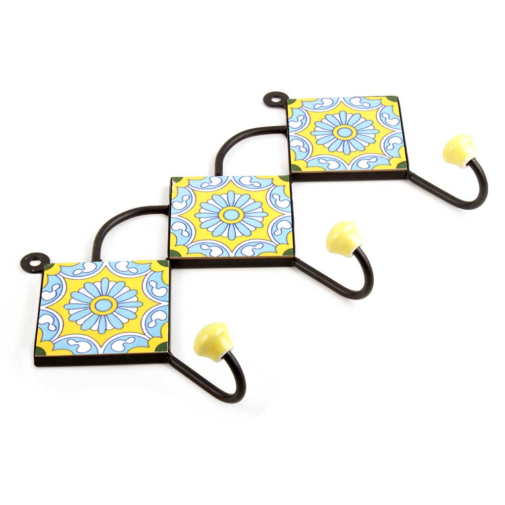 Yellow Turquoise Wheel Tiles Hook