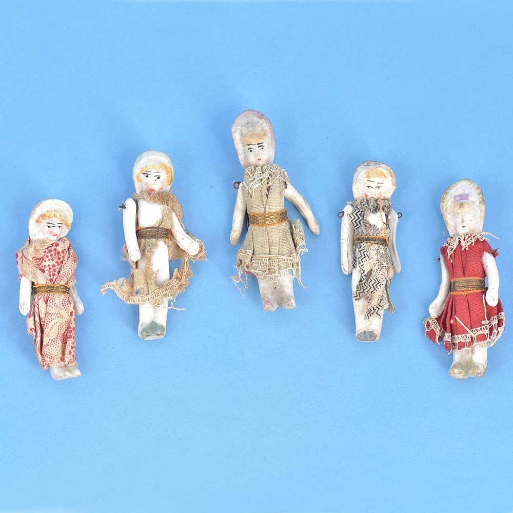 Old Handmade Porcelain Girls Figurines Set Of 5
