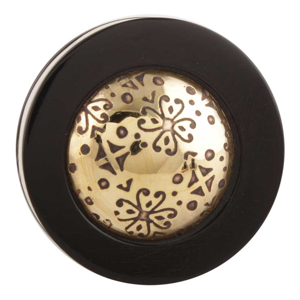 Black And Golden Brass Tiny Flower Resin Drawer Knob