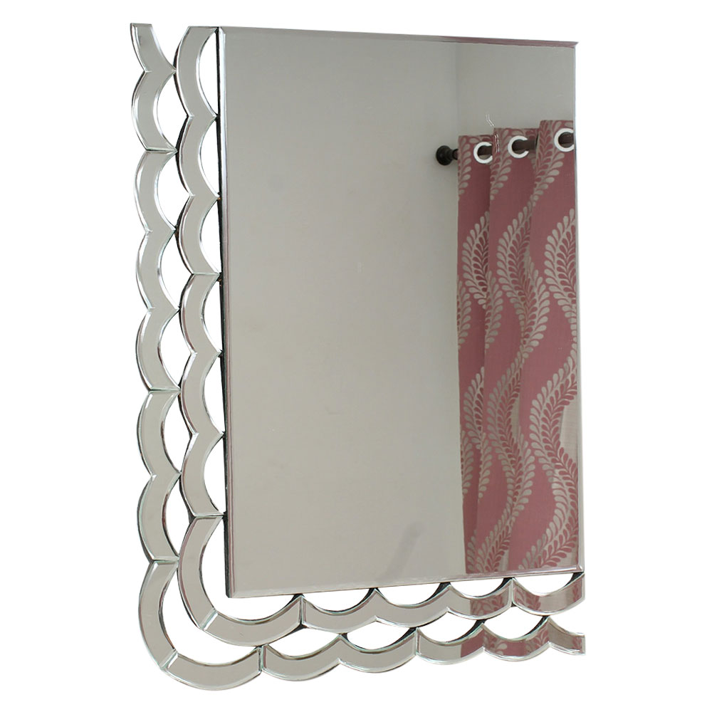 Rectangular Venetian Wall Mirror With Wavy Borders