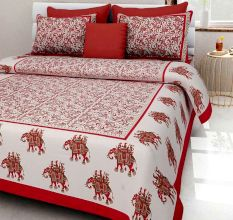 144 TC Cotton Double Bedsheet with 2 Pillow Covers - Red