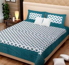 144 TC Cotton Double Bedsheet With 2 Pillow Covers - Green