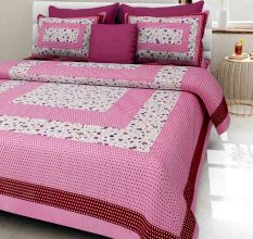 144 TC Cotton Double Bedsheet With 2 Pillow Covers - Pink