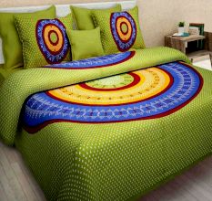 144 TC Cotton Double Bedsheet With 2 Pillow Covers - Green Bandhani