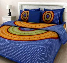 Cotton Double Bedsheet with 2 Pillow Covers - Blue Bandani